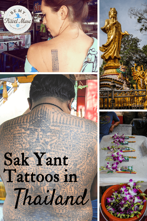 Details behind getting a magic tattoo - the Sak Yant tattoo from a monk at Wat Bang Phra outside of Bangkok, by the most famous Sak Yant monk in Thailand. Read more at https://www.bemytravelmuse.com/sak-yant-tattoo/