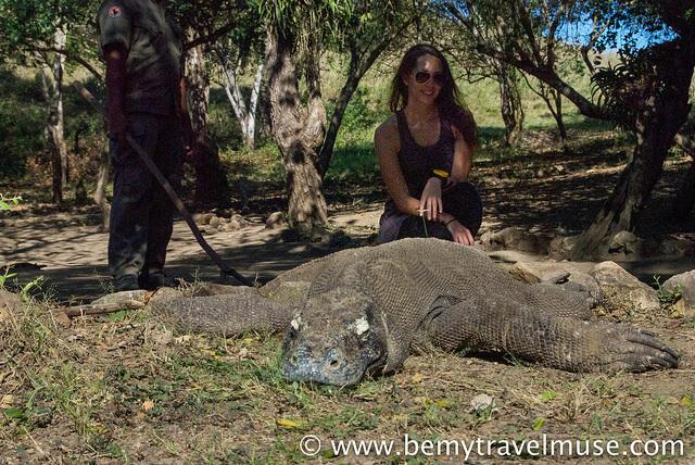 Kristin Addis with a Komodo Dragon