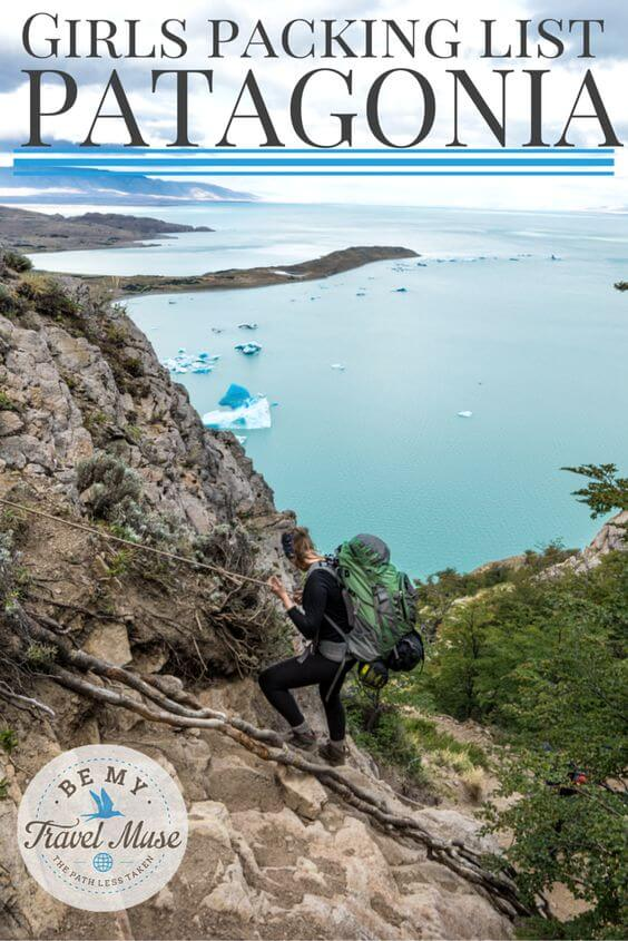 What should you bring to Patagonia with you? Here's the perfect women's Patagonia packing list from a girl who traveled through for 2 months! Read more at https://www.bemytravelmuse.com/womens-patagonia-packing-list/