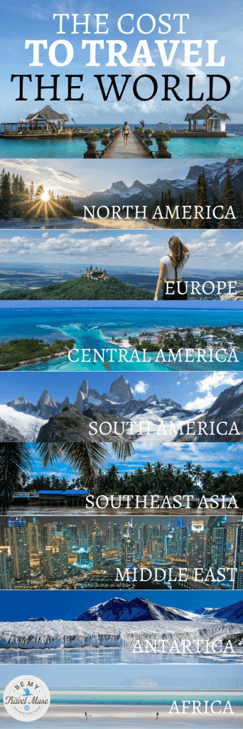 Can you afford to travel the world? Here's an epic breakdown of the cost to travel in each and every continent on earth, from North America, Europe, Central America, South America, Asia, Middle East, to Antartica. Start dreaming your RTW trip with this! #RTWTrips