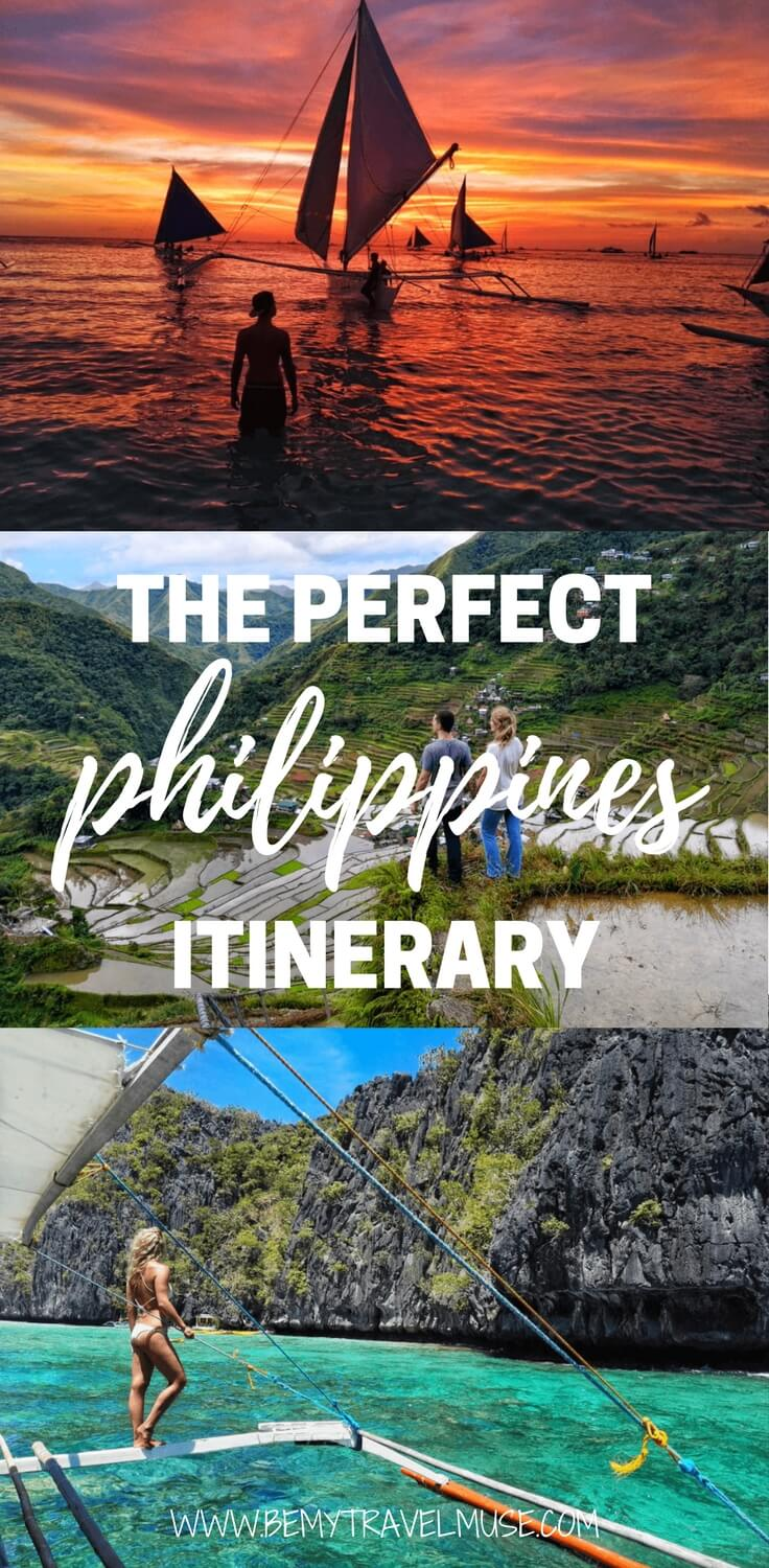 The ultimate Philippines itinerary, perfect for both couples and solo travelers. Travel through Manila, North Luzon, Sagada, Boracay, Coron, Cebu, and many other off the beaten path spots | Philippines Travel Destinations | Philippines Travel Tips | Places to visit in Philippines | Guide to Philippines | Philippines adventure | Be My Travel Muse #Philippines #Bucketlist