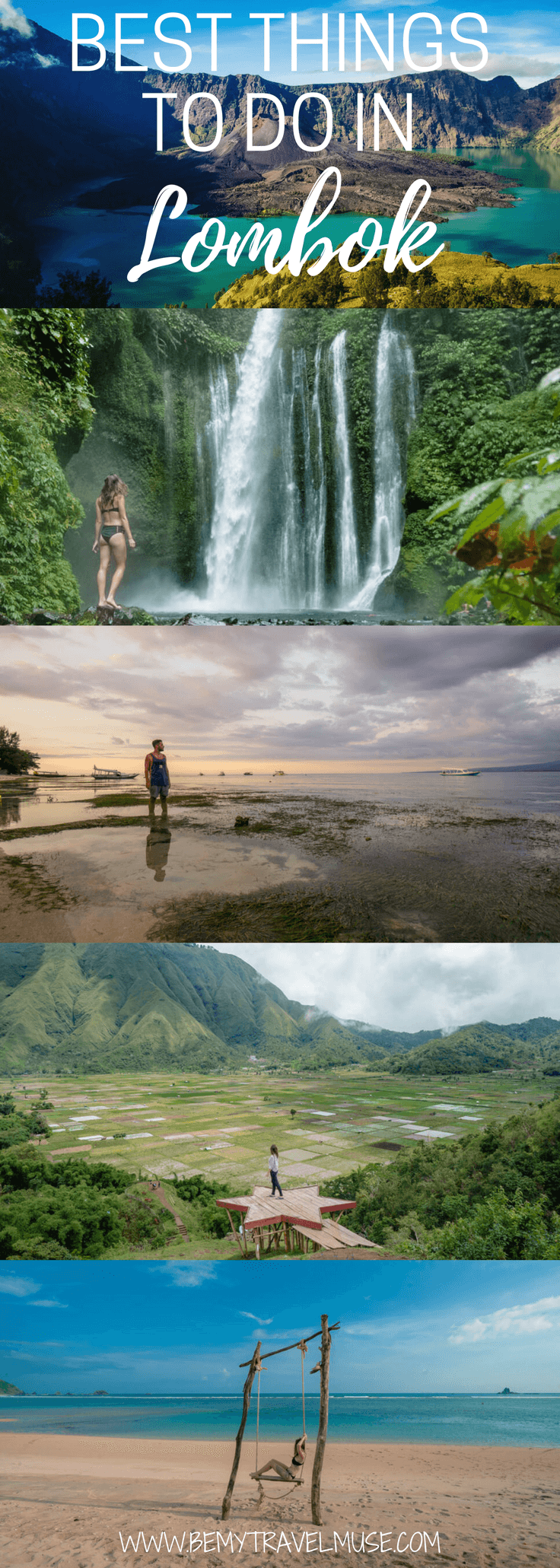 Here are the best things to do in Lombok, Indonesia. The best beaches and waterfalls, mountains to hike and other cool spots that are off the beaten path | Be My Travel Muse #lombok