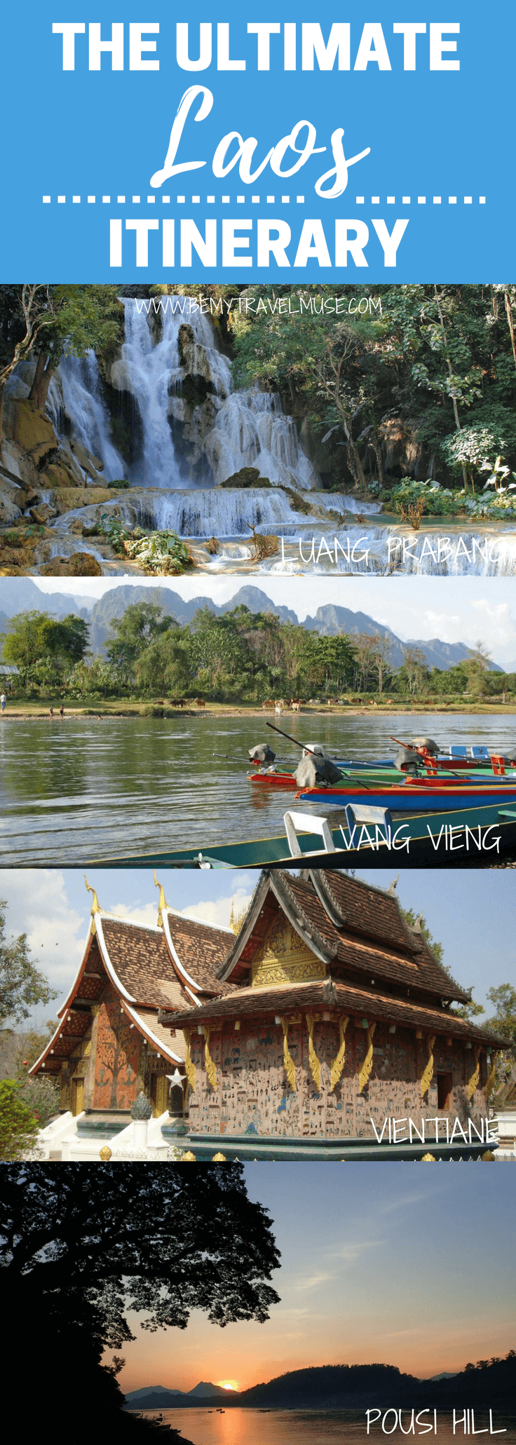 An awesome itinerary for Laos, from the must-sees such as Luang Prabang and Vientiane, to places that are off the beaten path. This post will help you plan your next trip to Southeast Asia | Be My Travel Muse | Backpacking Laos things to do