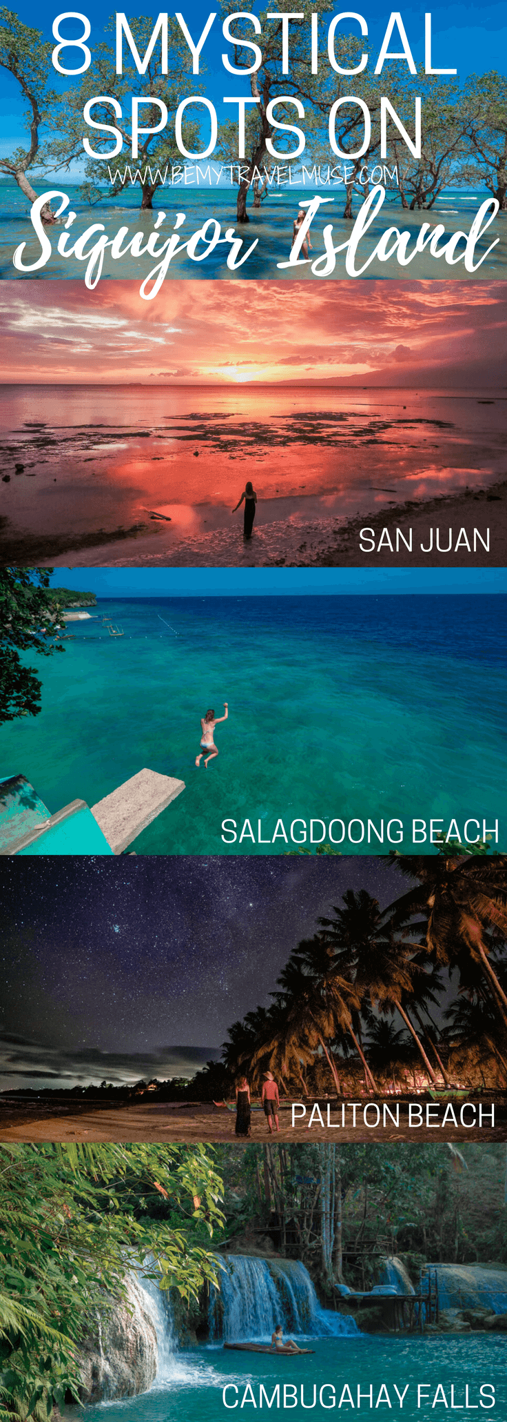 The 8 best spots you HAVE to go when on the mystical Siquijor Island of the Philippines - best beaches, best waterfalls, unique stops, plus tips on where to stay included. What a beautiful paradise! Be My Travel Muse | Salagdoong Beach | Balete Tree | Cambugahay Waterfalls | Glamping Philippines