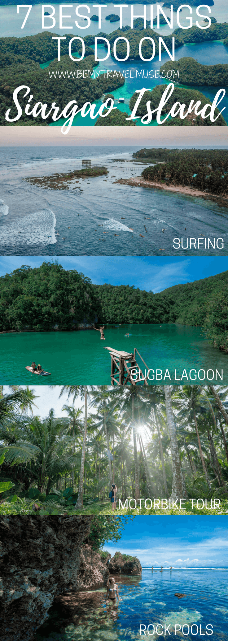 Here are the 7 awesome things to do on Siargao Island, Philippines, with additional information that will make it an awesome itinerary for your Siargao Island adventure! Be My Travel Muse | Solo female travel | Sugba Lagoon | Magpupungko Rock Pools | Philippines island travel
