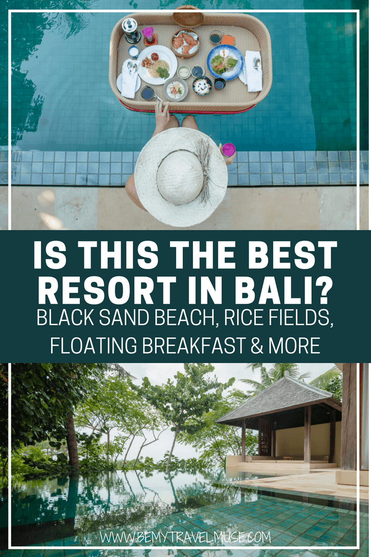 Planning your trip to Bali and wondering where to stay? I stayed at a resort that offers an olympic size pool (and a private pool), paddy rice fields, black sand beach with no one else on it, Insta-worthy floating breakfast and more. Click to read my full review of Komaneka Resort! Be My Travel Muse | Bali best resort | where to stay in Bali | Bali best villa resort