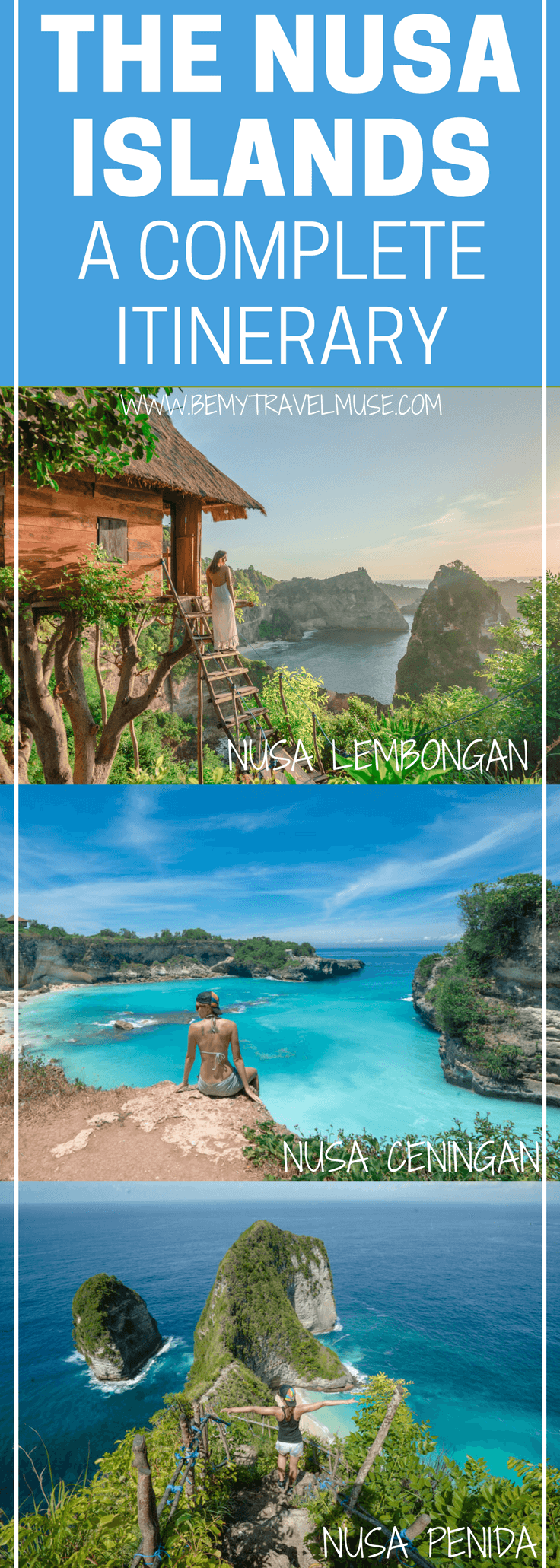 The ultimate guide to your trip in the Nusa Islands, Bali, Indonesia! A full itinerary that will help plan your trip, with all the best spots to see & go, accommodation and transportation tips! Be My Travel Muse | Nusa Lembongan | Nusa Penida | Nusa Ceningan | Blue Lagoon | Devil's Tear | Angel's Bilabong | Dream Beach | Kelingking Viewpoint | Bali travel tips | Indonesia travel tips