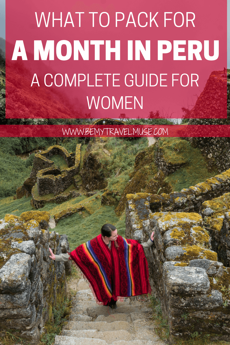 Planning a trip to Peru? This Peru packing list for women will help you pack for multiple climates without overpacking your luggage! Click to read what I've packed for a month in Peru the hikes for the mountains, the amazon, and the city. #Peru #SouthAmerica