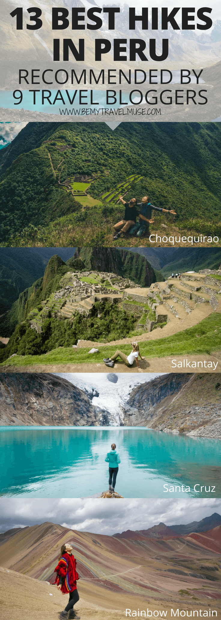In this list, 9 travel bloggers share their favorite hikes in Peru. Planning for an adventure in Peru, but don't know which hiking trails are the best? This list covers popular trails, off the beaten path trails, easy, moderate and difficult hikes, plus secret tips, that will help you plan a perfect South America outdoor adventure in Peru #Peru #HikingTips