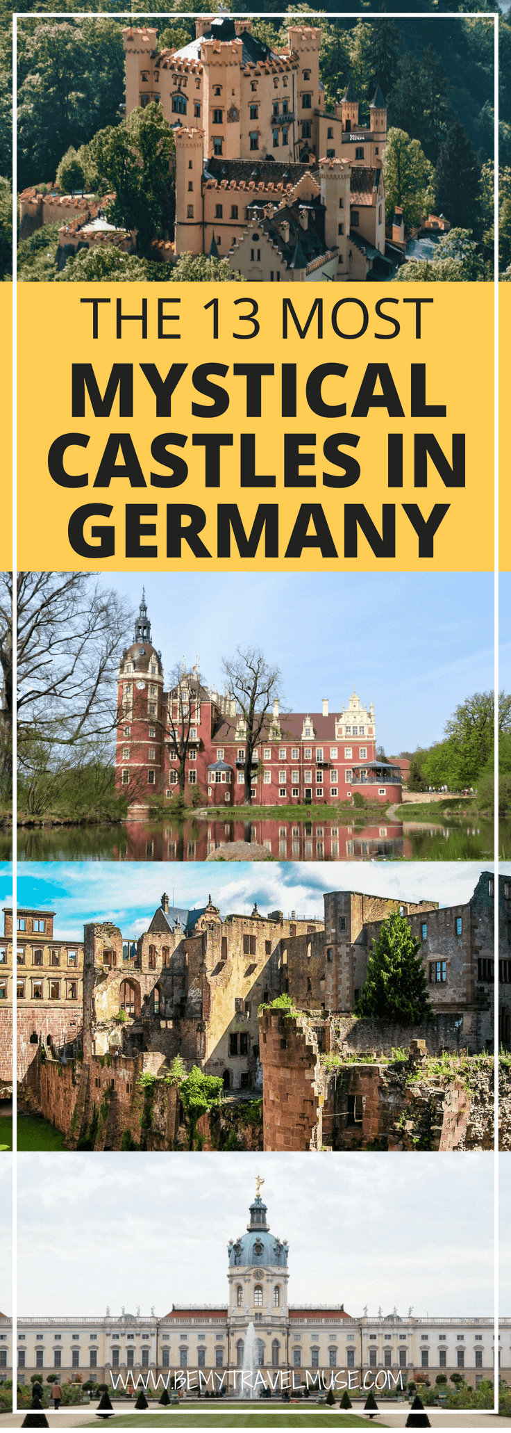 If you like mystical castles, you need to visit Germany! I rounded up 13 of the most beautiful castles in Germany that will help you plan your dream trip. From the popular Hohenzollern to some lesser known ones, pictures and what makes each of them so special included. #Germany #Castles