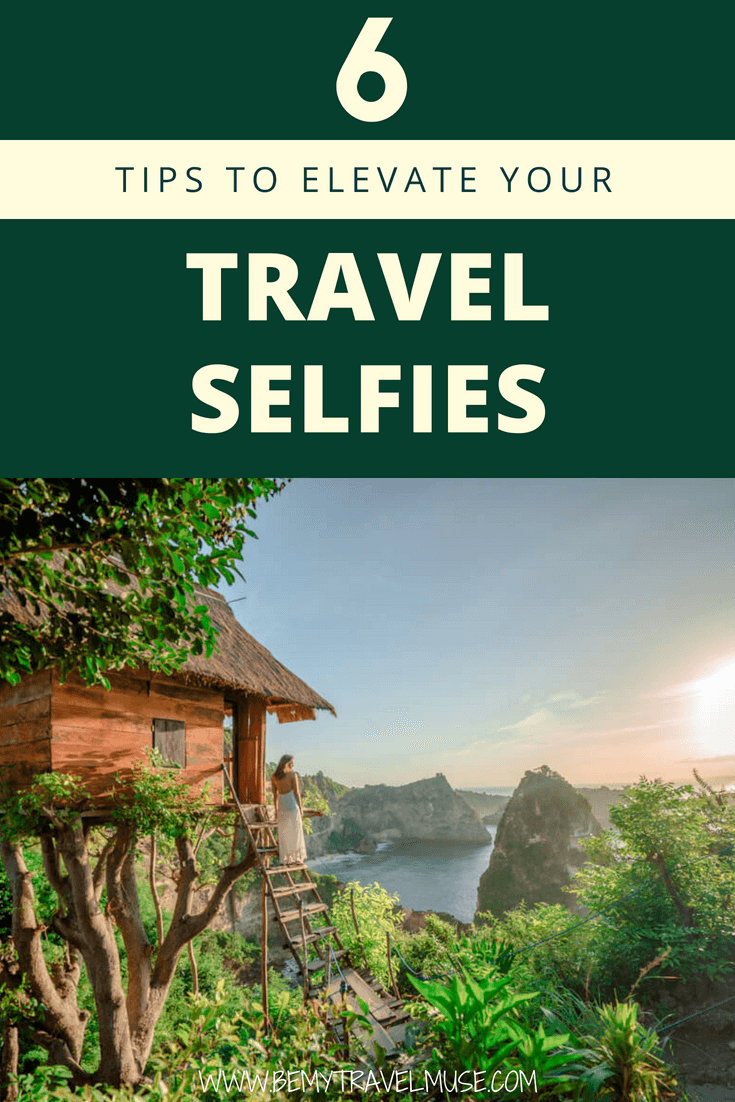 6 easy tips that will take your travel selfie game to a whole new level! I have traveled around the world mostly solo for 6 years and here are my best travel selfie tips. Click to join an easy 5-day challenge to pose more naturally in front of the camera too! #TravelSelfie #SoloFemaleTravel