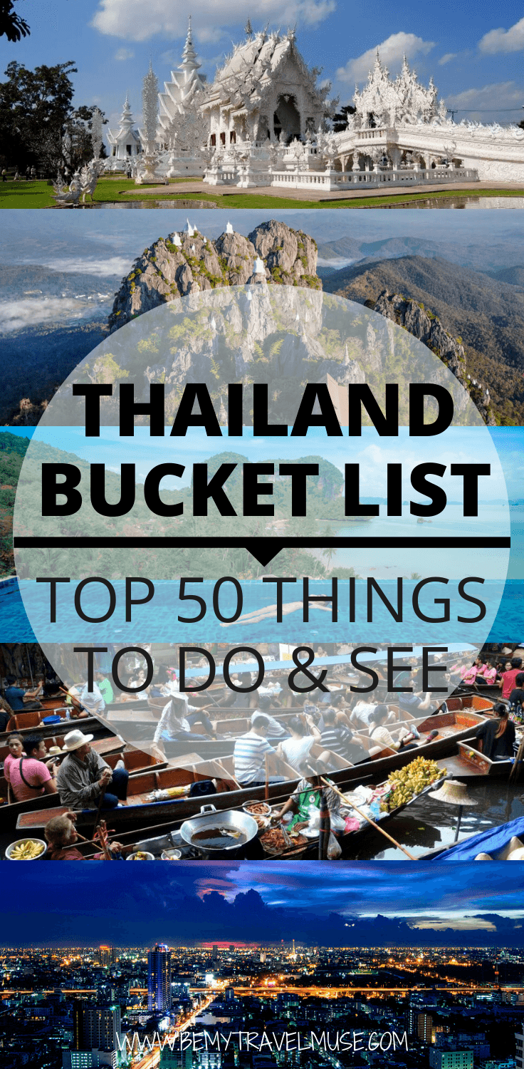 Looking for an epic adventure in Thailand? Here is an awesome Thailand bucket list with 50 top things to do and see! Visit the most gorgeous islands, climb a few mountains, enjoy the cities, eat all the great Thai food and enjoy everything the land of smiles has to offer! #ThailandBucketList #Thailand #ThailandTravelTips