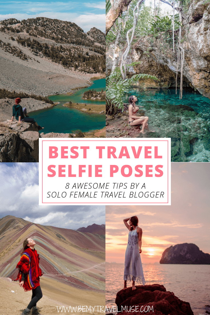 Traveling solo and wants gorgeous photos of yourself to share with your friends and family? Here are 8 tips on posing for the ultimate travel selfies (that will NOT look like a selfie, promise!). Click to read & join the free 5-day pose challenge! #Solofemaletravel #travelselfie