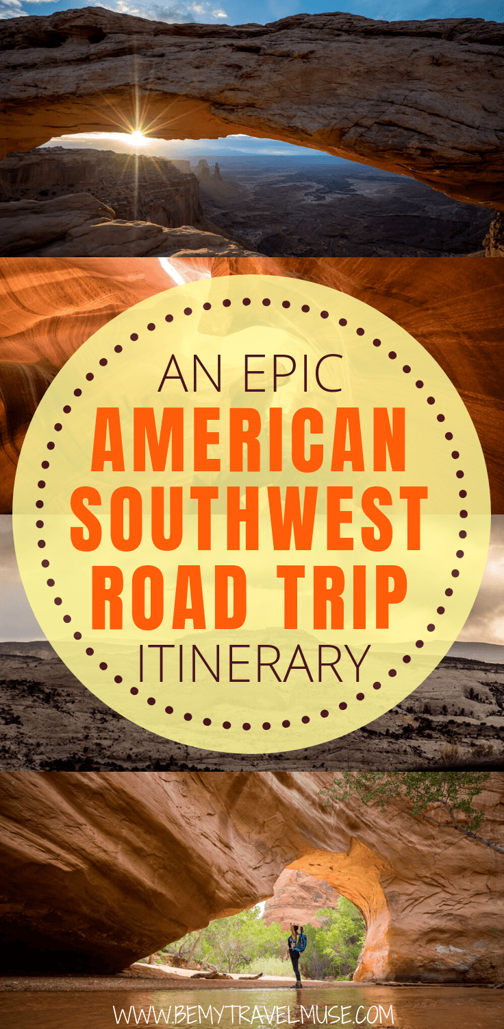 Click to check out the ultimate American Southwest road trip itinerary through Nevada, Utah and Arizona, with 16 stops at national parks and monuments including the Grand Canyon, Horseshoe Bend, Zion, Antelope Canyon & more. Essential tips on accommodation and budget included. #AmericanSouthwest #RoadTrip