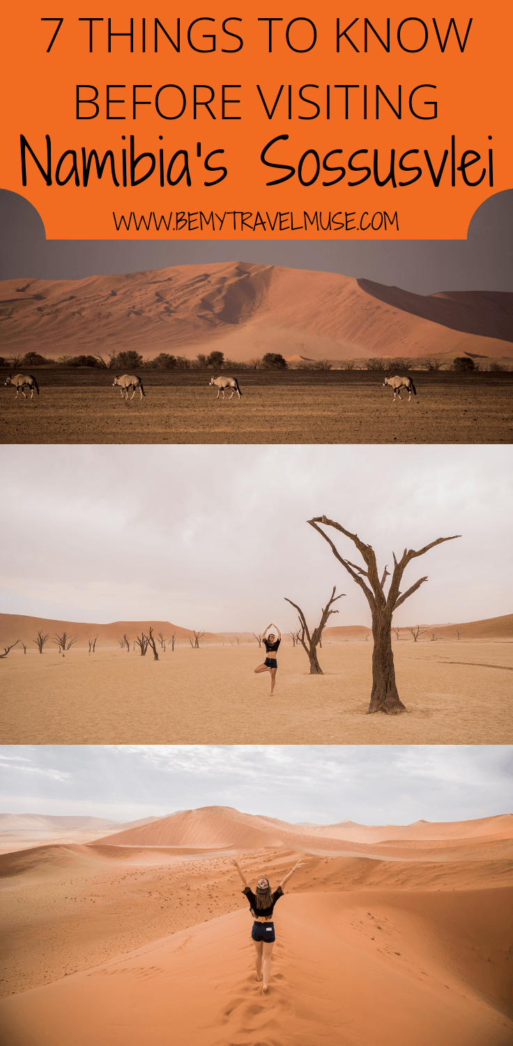 Here are 7 things you need to know before visiting Sossusvlei, Namibia. Essential information such as the best places to go, best time to visit, and accommodation guide included. Check it out!