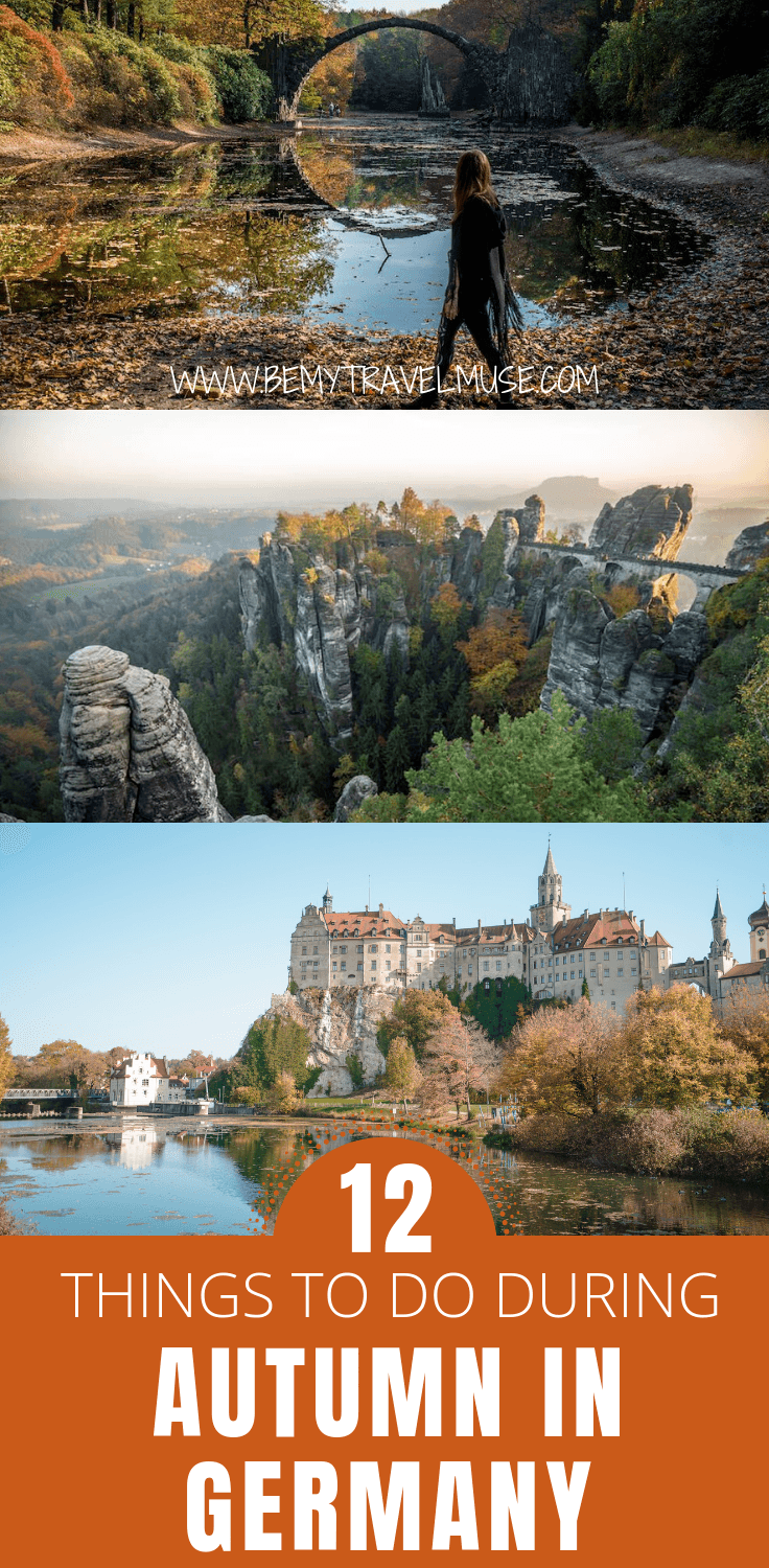 Visiting Germany in the fall? Here are 12 amazing things to do (and best places to go) during autumn in Germany. Some spots are iconic and typical, some are off the beaten path. Click to read the full post and start planning your fall trip to Germany now!