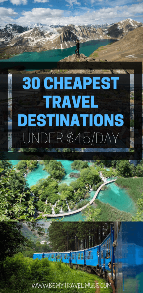 If you are planning a trip on a tight budget, here are 30 affordable destinations around the world, including Asia, Europe, Africa, and the Americas, that cost less than $45/day to travel in. Some may cost as low as $20/day! Click to find out more and start planning your next adventure. #CheapPlacesToTravel #BudgetTravelTips