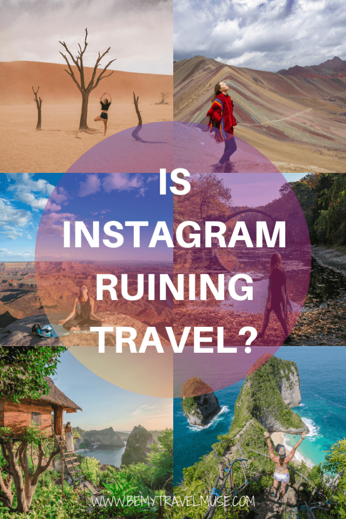 Is Instagram ruining travel? In this post, I talk about the travel instagrammers, comment pods, overtourism, and how more and more travel decisions are affected by how instagrammable a place is. Click to read and I'd love to hear your opinion. #Instagram #TravelInfluencer