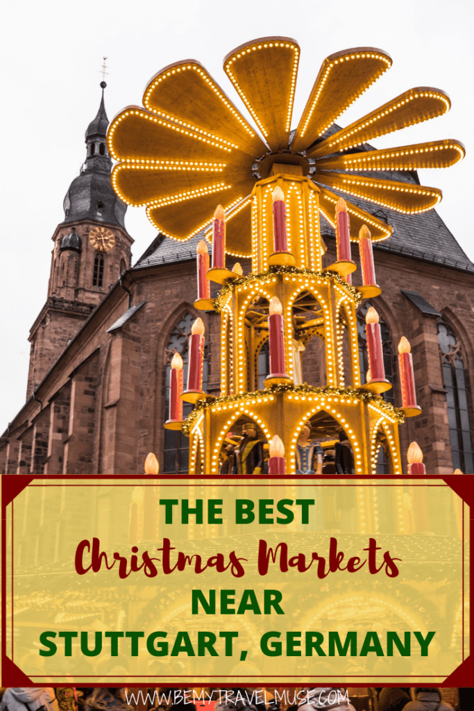 Traveling to Stuttgart, Germany in the winter? It is the perfect season to visit the Christmas markets! Here are all of the best christmas markets near Stuttgart, some traditional, some with unique themes, and they are all beautiful, delicious, and fun! Check out the article to plan your next Christmas holidays now! #Stuttgart #GermanyWinterHolidays