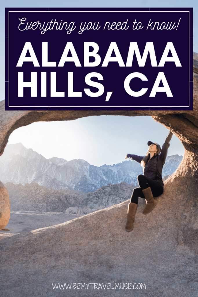 Everything you need to know about exploring Alabama Hills, California. Details on the famous arches, the best sunrise point, best time to go, tips on getting to the Movie Road, camping guide, and so much more #AlabamaHIlls #California