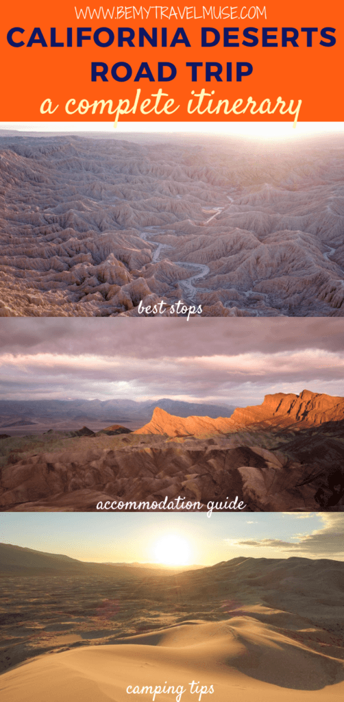 This is the perfect California Desert road trip itinerary for an adventure of a lifetime! The itinerary covers Alabama Hills, Death Valley, Mojave National Preserve, Joshua Tree National Park and Anza Borrego State Park. You will also find safety tips, accommodation guides and all of the best stops in this post. Click to read now! #CaliforniaRoadTrip #California