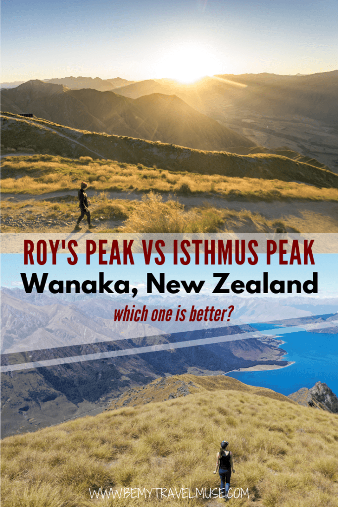 If you are choosing between Roy's Peak and Isthmus Peak, this article has a complete breakdown of the pros and cons of each hike, and which one you should hike if you are short on time but want to get the most out of your time in Wanaka, New Zealand! #RoysPeak #IsthmusPeak #WanakaTravelTips