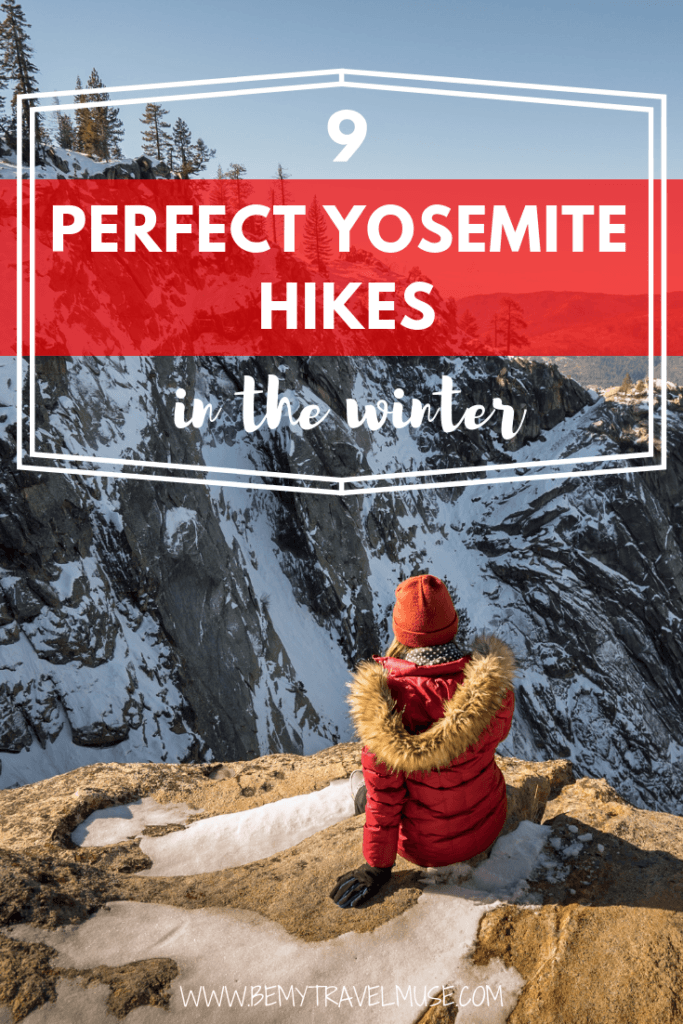 Yosemite National Park is stunning all year round, but especially magical in the winter! If you are planning a winter trip to Yosemite, be sure to check out these hikes, including the Lower Yosemite Falls, Valley Loop, Mirror Lake, and so much more! #Yosemite
