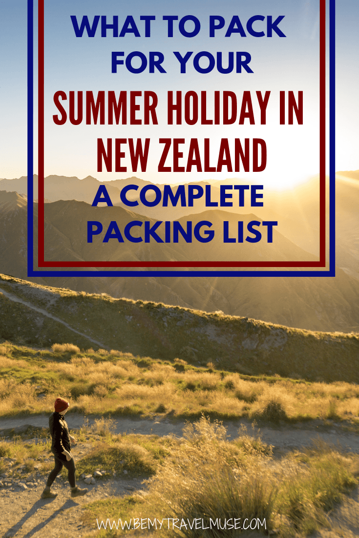 Here's a complete packing list for your summer holiday in New Zealand, with amazing, practical yet stylish clothing options, hiking gear, best bags to bring, as well as tech. #NewZealand #SummerPackingList