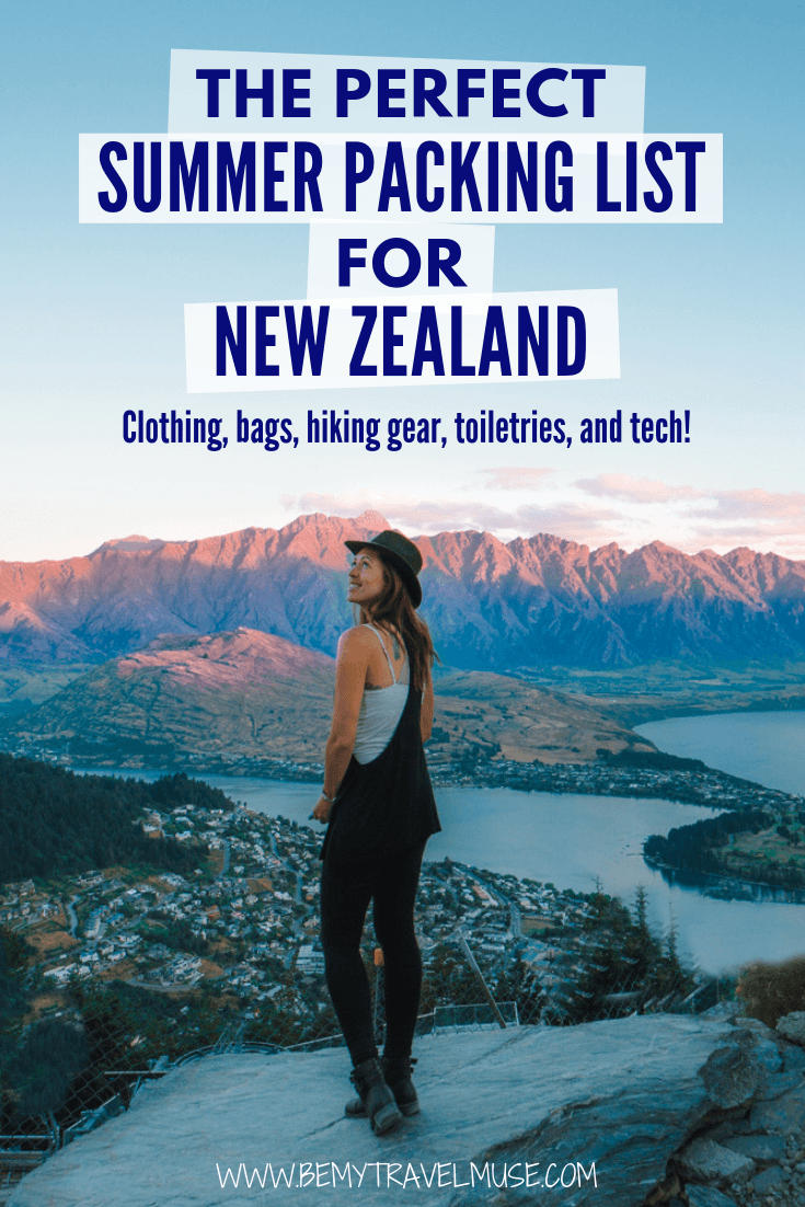 Packing for a summer holiday in New Zealand? It's ever-changing temperature can be tricky! Fret not, here's the perfect summer packing list for New Zealand, including a complete clothing list, the best bags to bring with you, as well as toiletries, hiking gear and tech gadgets! #NewZealandTravelTips #NewZealand