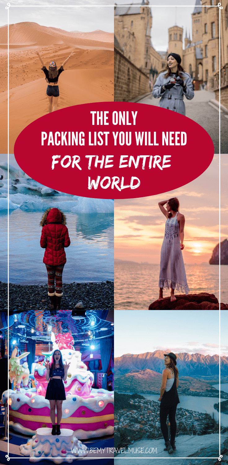 This is the perfect women's packing list for the entire world. You will find clothing list for different climates, toiletries to bring, modesty consideration tips, and haircare abroad, travel insurance, as well as tech gear to bring on your trip. If you are planning a RTW trip, this packing list is made for you! #packinglist #womenpackinglist