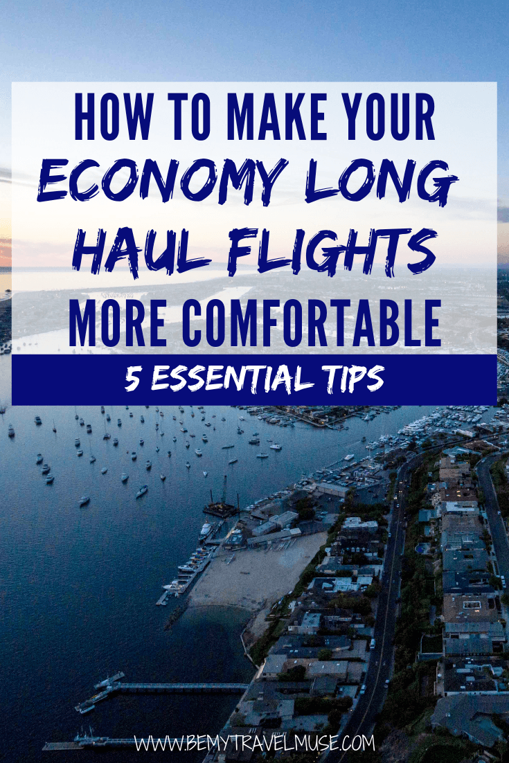My best tips on how to make your economy long haul flights more comfortable. These essential tips will help you survive the 10+ hours in the air! #EconomyLongHaulFlights
