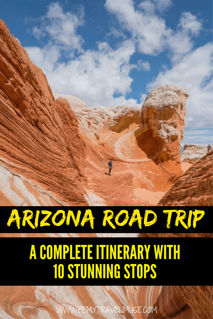 A road trip is the best way to see Arizona. If you are planning your Arizona road trip itinerary, here are 10 best stops, with photos and maps to help you get the most out of your trip. Stops include Sedona, Havasu Falls, the Grand Canyon, Horseshoe Bend, Antelope Canyon, and more. #Arizona