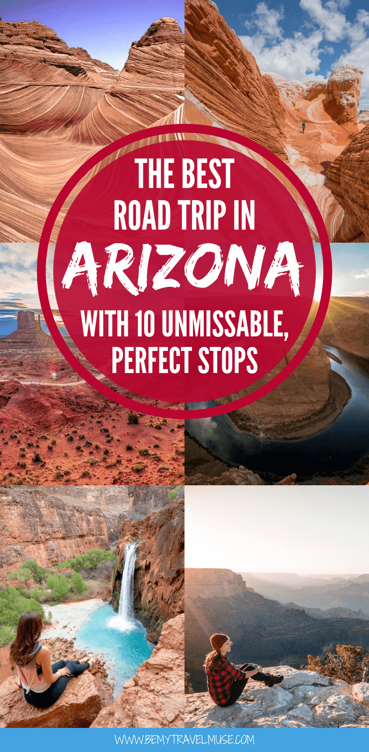 Where to go on a road trip in Arizona? Here are 10 unmissable stops that you should include in your Arizona road trip itinerary. See the Grand Canyon, the Havasu Falls, the Antelope Canyon, and 7 other awesome places! Photos, maps, and insider tips included - click to read now. #Arizona #ArizonaRoadTrip