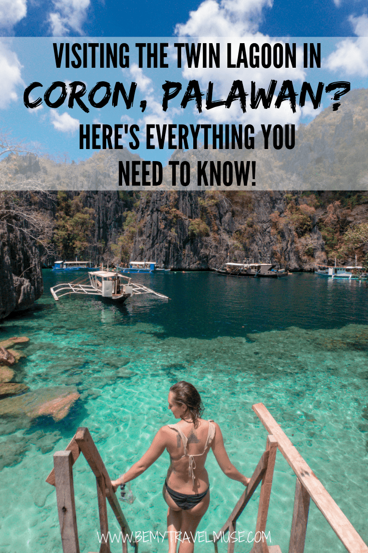 Click to read an essential guide to visiting the Twin Lagoon in Coron, Palawan, the Philippines! If you want to know how to get to the Twin Lagoon, when is the best time to visit, and some insider tips that will help you get the most out of your trip, click to read the post now. #Coron #thePhilippines