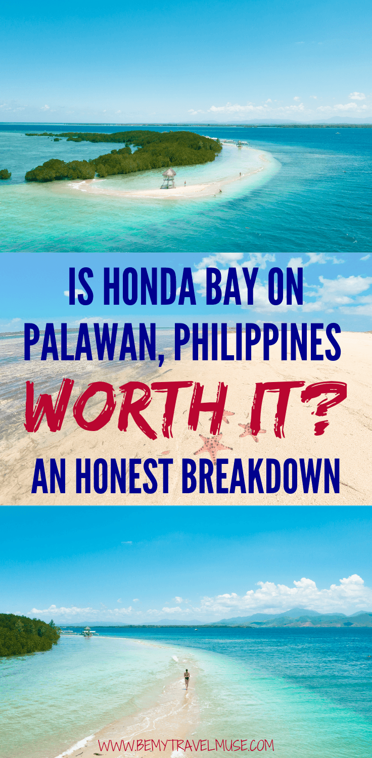 Is Honday Bay on Palawan, The Philippines worth it? I went on a private boat tour and did some island hopping. This post consists of a DIY guide, as well as my honest thoughts about the area. If you are planning on visiting Puerto Princesa, check this post out! #Palawan #PuertoPrincesa