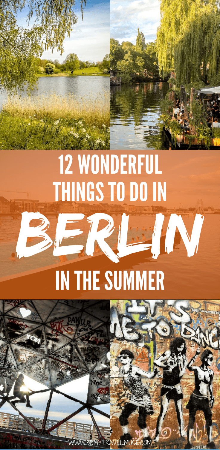 Berlin is beautiful and awesome in the summer. If you are visiting, be sure to include these 12 things in your itinerary. These are my favorite things to do in the summer, having lived in Berlin as an expat for a 5 years.
