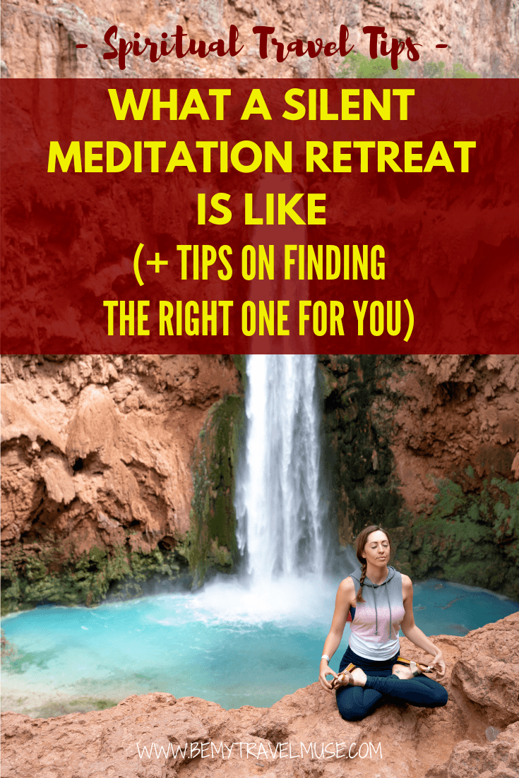 Considering a silent meditation retreat? If you have never participated in one before, I am sharing my experience in this post to help give you a better sense of what a silent meditation retreat is like, and tips on how to find the right one for you. #meditation #silentmeditation #spiritualtravel