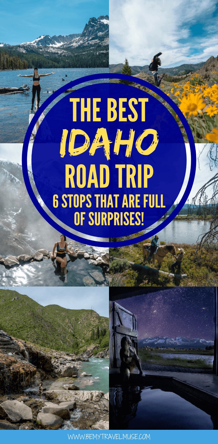 This epic Idaho road trip itinerary includes 6 amazing stops that are full of surprises! If you are into beautiful hot springs, hiking, all things nature and outdoor activities, this road trip is perfect for you. Click to read now and start planning your trip! #Idaho #USARoadTrip